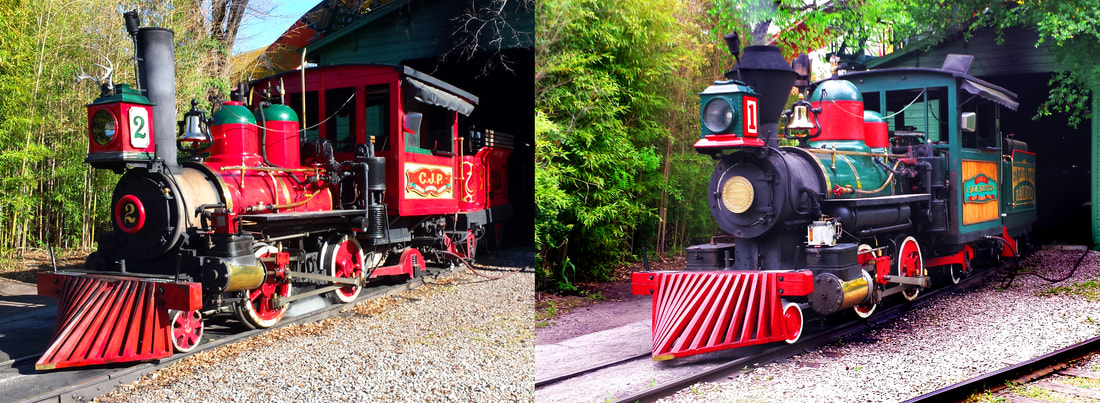 Side by Side photos of Steam Locomotives. Left locomotive is Red with a